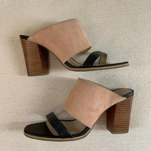 Seychelles Black Leather Tan Suede Strappy Sandals